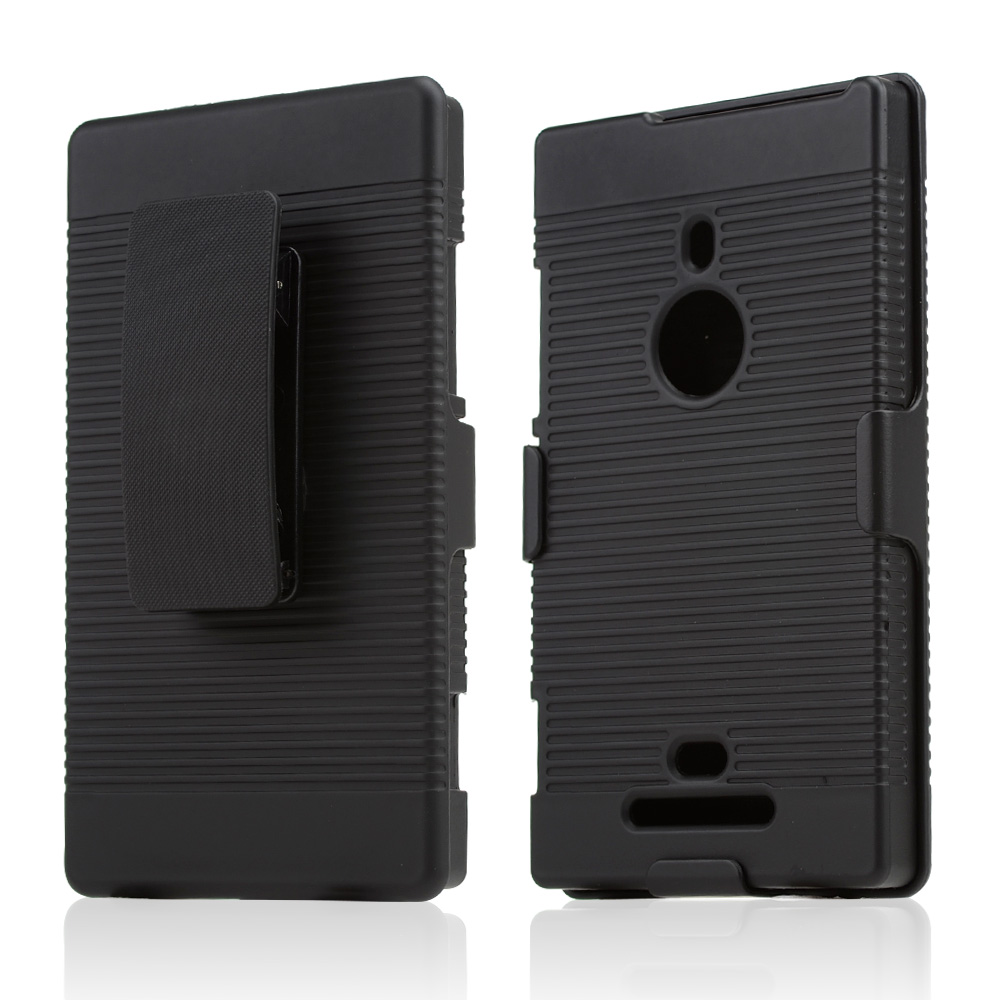 Black Rubberized Hard Case & Holster Combo w/ Kickstand & Swivel Belt Clip for Nokia Lumia 925