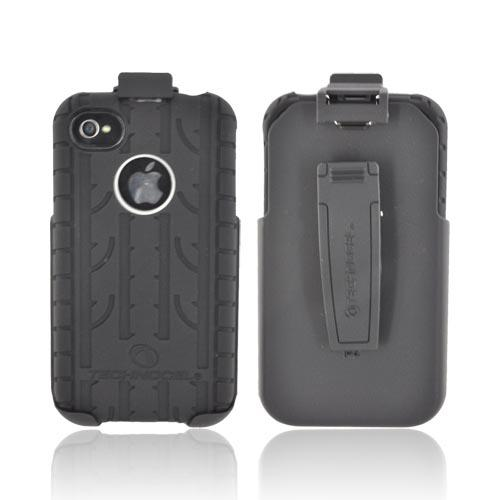 Premium Apple AT&T/ Verizon iPhone 4 iPhone 4S Silicone on Hard Case & Holster w/ Rotating Belt Clip - Black Tire Tread on Gray