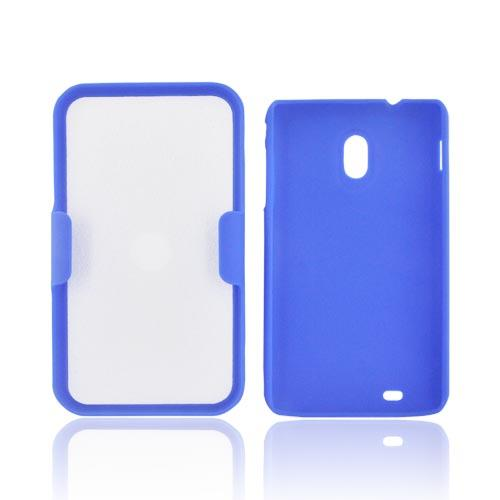 Samsung Epic 4G Touch Rubberized Hard Case w/ Holster Stand - Blue