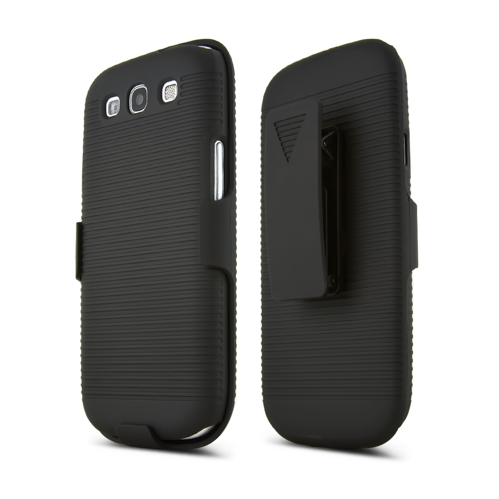 Samsung Galaxy S3 Rubberized Hard Case & Holster Combo w/ Belt Clip & Stand - Black