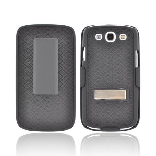 Samsung Galaxy S3 Rubberized Hard Case w/ Metal Kickstand & Holster Combo - Textured Black