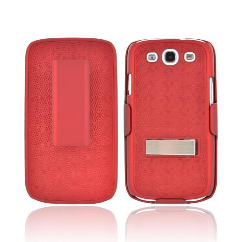 Samsung Galaxy S3 Rubberized Hard Case w/ Metal Kickstand & Holster Combo - Textured Red