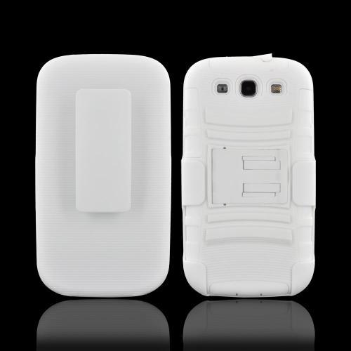 Samsung Galaxy S3 Hard Cover Over Silicone Case w/ Stand & Holster Stand w/ Swivel Belt Clip - White