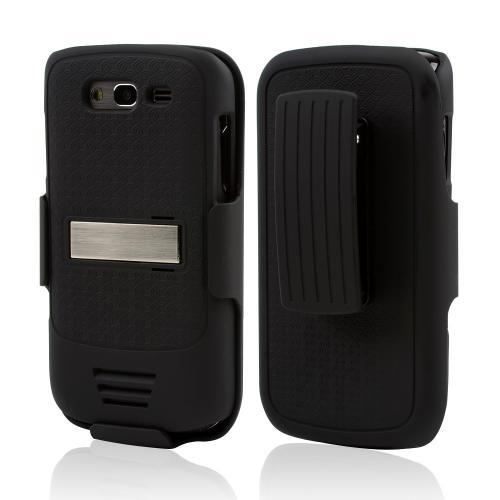 Samsung Galaxy S Blaze 4G Rubberized Hard Case w/ Holster & Belt Clip - Black