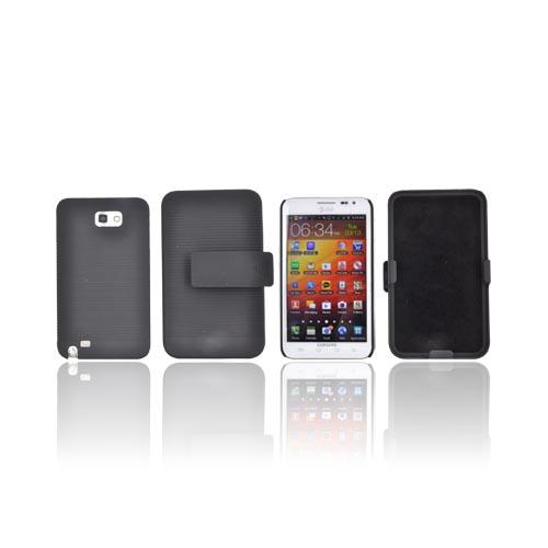 Samsung Galaxy Note Rubberized Hard Case w/ Holster & Kickstand - Black
