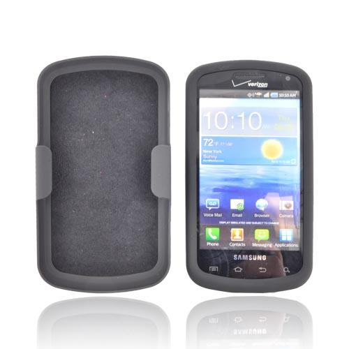 Samsung Stratosphere i405 Rubberized Hard Case w/ Holster Stand - Black