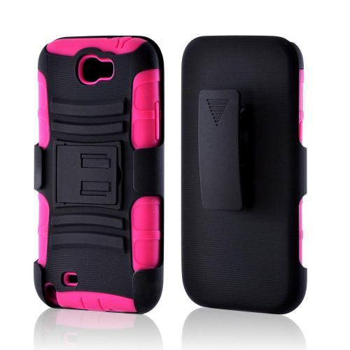 Black/ Pink Rubberized Hard Cover On Silicone Case w/ Stand & Holster Stand w/ Swivel Belt Clip for Samsung Galaxy Note 2