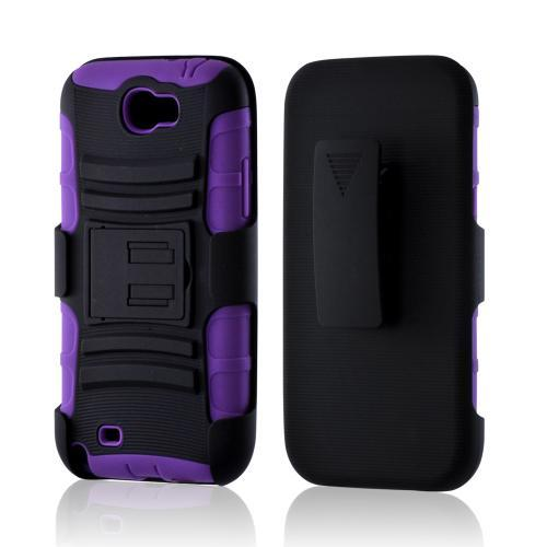 Black/ Purple Rubberized Hard Cover On Silicone Case w/ Stand & Holster Stand w/ Swivel Belt Clip for Samsung Galaxy Note 2