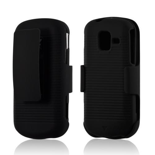 Black Rubberized Hard Case Holster Combo w/ Kickstand & Belt Clip for Samsung Intensity 3