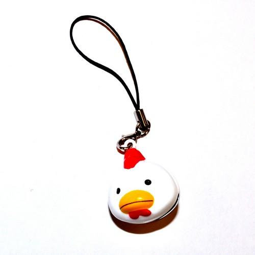 Universal Animal Bell Cell Phone Charm/ Stopple - White Chicken