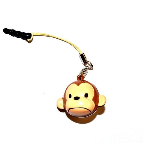 Universal Animal Bell Cell Phone Charm/ Stopple - Brown Monkey