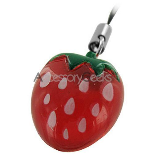 Strawberry Cell Phone Charm/ Strap Pen Ornament Ring - Red