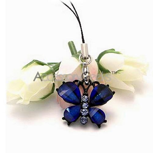 Glamorous Butterfly Cell Phone Charm/ Strap - Blue