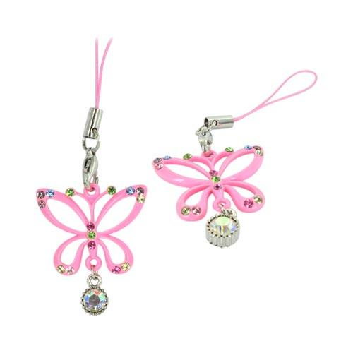 Butterfly Cellphone Charm/ Strap w/ Multi Colored Gems - Pink