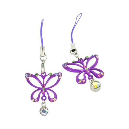Butterfly Cellphone Charm/ Strap w/ Multi Colored Gems - Purple