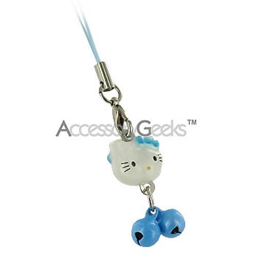 White Cat with Baby Blue Bells Hand Strap / Charm