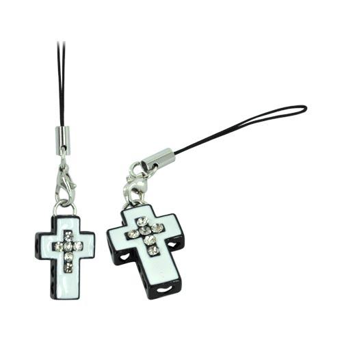 Cross Cellphone Charm/ Strap w/ Heart Cutouts & Gems - White/ Black