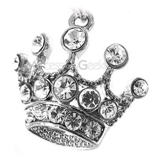 Sparkling Crown Cell Phone Charm - clear