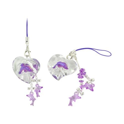 Dolphin in Clear Heart Cellphone Charm/ Strap - Purple