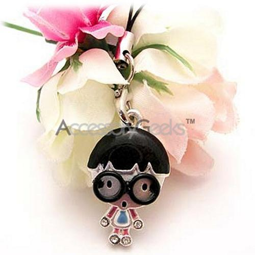Geeky Boy w/ Black Glasses Cell Phone Charm/ Strap