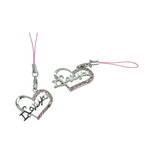 I Love You Heart Cellphone Charm/ Strap - Pink Gems