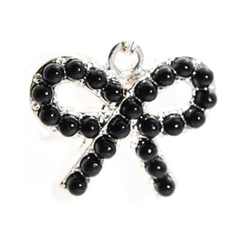 Universal 3.5mm Headphone Jack Stopple Charm - Black Pearl Bow Tie