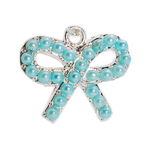 Universal 3.5mm Headphone Jack Stopple Charm - Light Blue Pearl Bow Tie