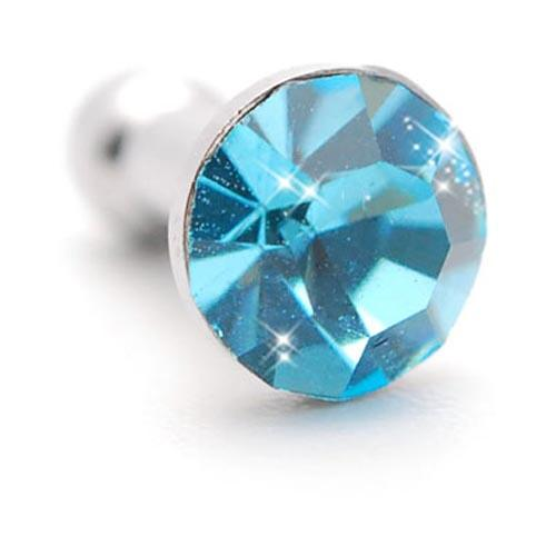 Universal 3.5mm Headphone Jack Stopple Charm - Light Turquoise Gem