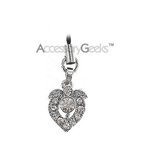 Shiny Apple Shaped Heart Cubic Charm / Strap - clear