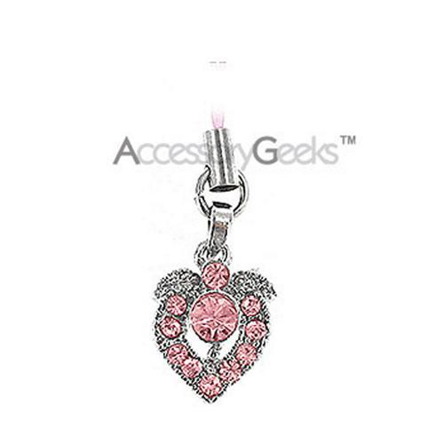 Shiny Apple Shaped Heart Cubic Charm / Strap - pink