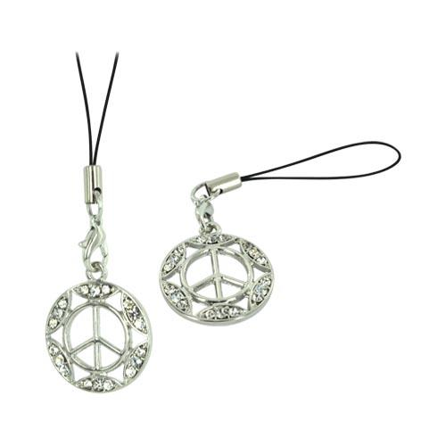 Peace Sign w/ Gemmed Border Cellphone Charm/ Strap - Clear