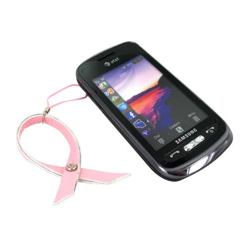 Pink Ribbon Cell Phone Charm/Strap w/ Center Sparkling Cubic Gem - Baby Pink