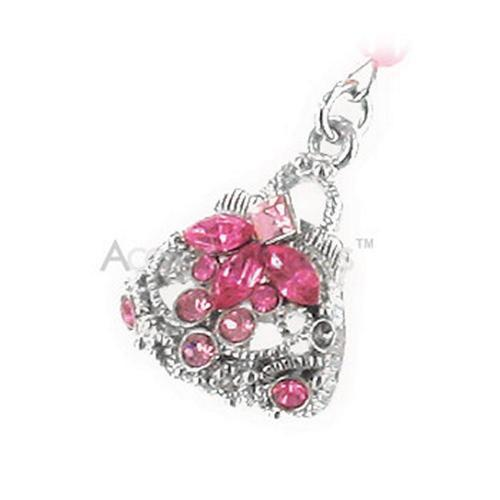Purse with Cubic Stones Charm - pink