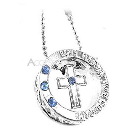 Cross Ring Cell Phone Charm - Baby Blue