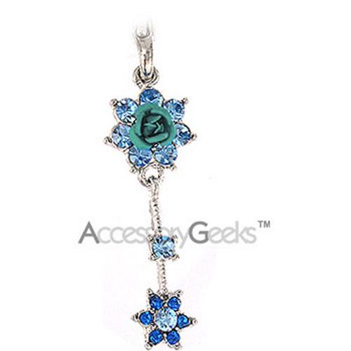 Shiny Blue Flowers Cell Phone Charm