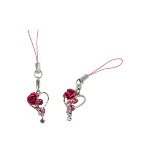 Silver Heart w/ Rose Cellphone Charm/ Strap - Pink Gems