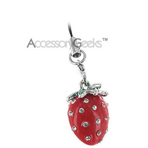 Plump Strawberry with Cubic Stones cell phone charm/strap - red