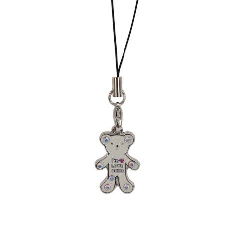 Teddy Bear Cell Phone Charm Strap White w/ Clear Stones