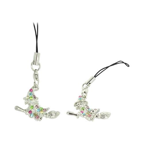 Witch Cellphone Charm/ Strap w/ Multi Colored Embedded Gems - Silver