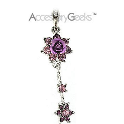 2 Roses with Cubic Stones Charm / Strap - purple
