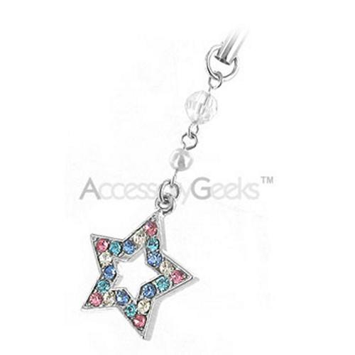 Sparkling Big Star Cubic Stone Cell Phone Charm - multi colored
