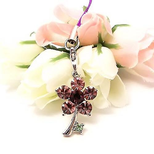 Tiny Dandelion Flower Cubic Stone Cell Phone Charm / Strap - Purple