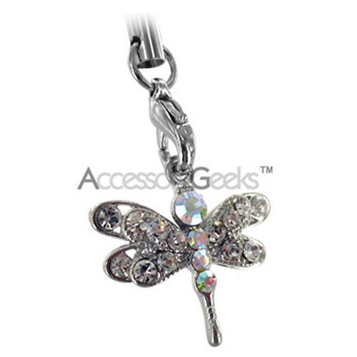 Dragonfly Cubic Stoned Cell Phone Charm/Strap - Clear