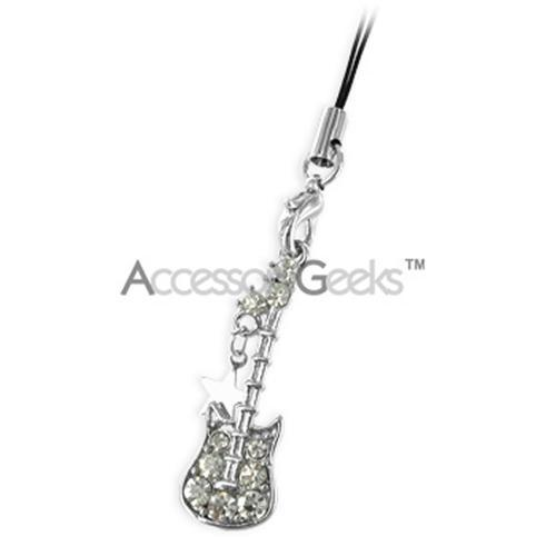Guitar and Star Cubic Stone Cell Phone Charm - Clear