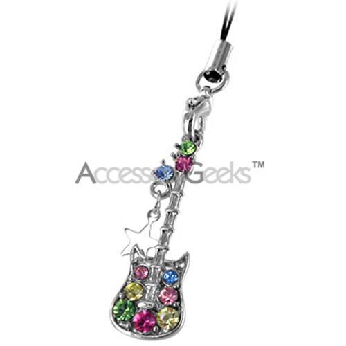 Guitar and Star Cubic Stone Cell Phone Charm - Multi Color