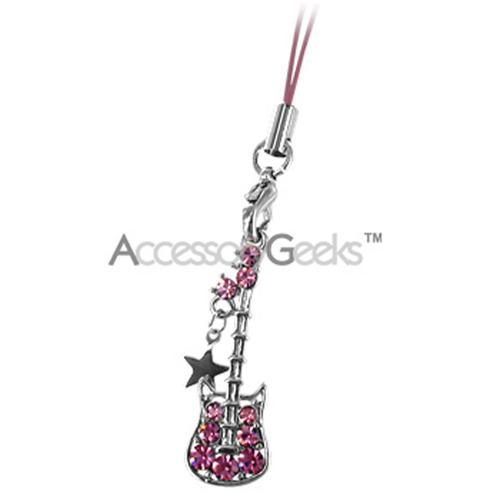 Guitar and Star Cubic Stone Cell Phone Charm - Pink