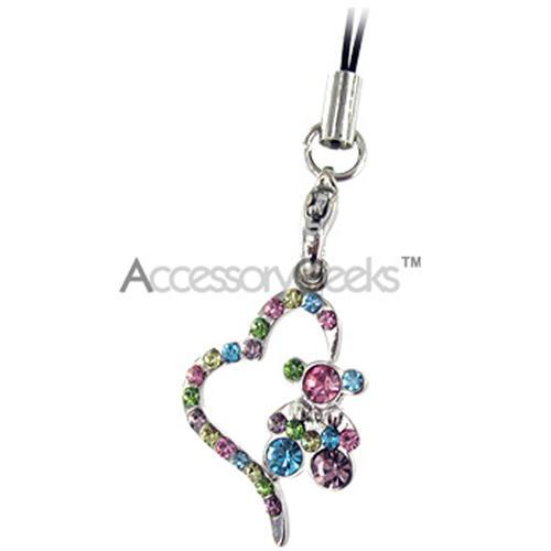 Teddy w/ Heart Cell Phone Charm/Strap - Multi-Color