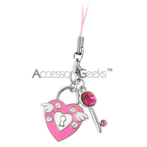 Key and Heart Lock w/ Wings Cubic Stone Cell Phone Charm - Pink