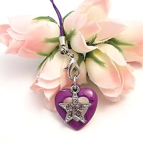Cubic Stone Diamonds of Star on a Heart Cell Phone Charm/Strap - Purple