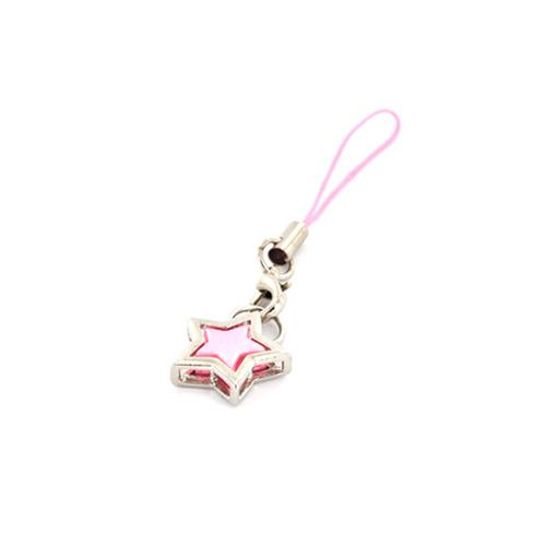 Star in Star Cubic Stoned Cell Phone Charm/Strap - Pink